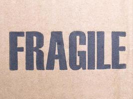 Fragile label on packet photo