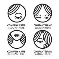 bundle of woman face Logo suitable for Beauty Salon Business vector