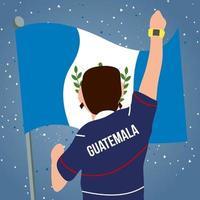 El hombre levantó el puño frente a la bandera nacional de Guatemala vector