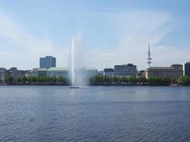 Alsterfontaene Alster Fountain at Binnenalster Inner Alster lake photo