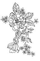 flower illustration for color book vector