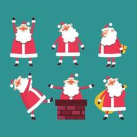 Set of cute funny Santa Clause with gifts, in chimney on blue vector