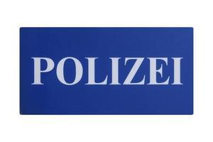 signo alemán aislado sobre blanco. policía de polizei foto