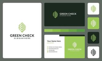 abstract leaf logo and check symbol. business card. vector