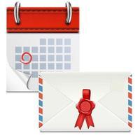 Loose-leaf Calendar With Closed Envelope. vector