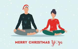 Young couple practice yoga together. Christmas. Vector illustration