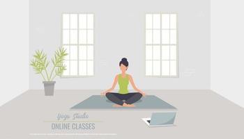 Online classes. Yoga classes. Banner for a yoga studio. illustration vector