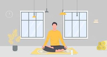 The man is meditating sitting in the lotus pose in the yoga studio vector