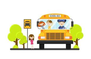 Children ride a school bus with a driver. Back to school vector