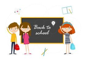 Schoolgirls and schoolboys with a blackboard. Vector illustration