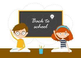 Schoolchildren are sitting. Back to school. Vector illustration