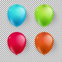 realistic balloon 3d birthday party element set vector illustration