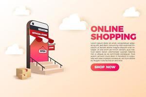 3D online shopping social media mobile applications websites vector