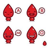 diseño lindo de la mascota del vector de sangre