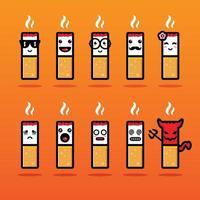 Conjunto de diseño de vector de mascota de cigarrillo