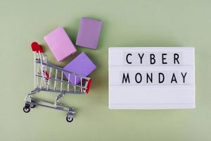 Top view cyber monday composition photo