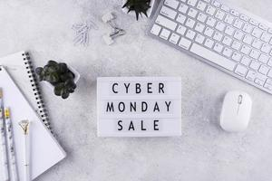 Top view cyber Monday arrangement photo