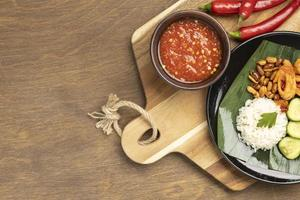 Top view traditional nasi lemak meal composition photo