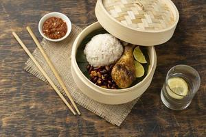 Traditional nasi lemak meal composition photo