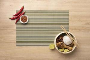 Traditional nasi lemak meal arrangement photo