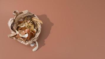 Top view trash cooking concept photo