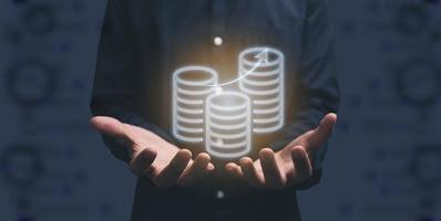 symbol stacked coins on hand illustration photo