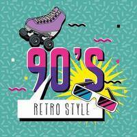 cartel de los noventa con estilo pop art patín vector