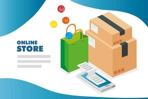 Smartphone y cajas de cartón con iconos de tienda online. vector