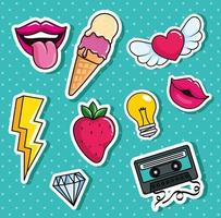 ice cream and set icons pop art style vector