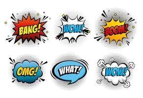 set of expressions and explosions pop art style icon vector