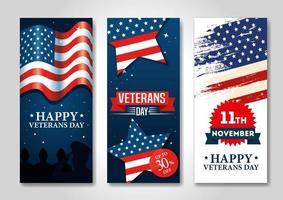 cartel de celebración del día de los veteranos vector