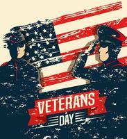 celebración del día de los veteranos con militares y bandera vector