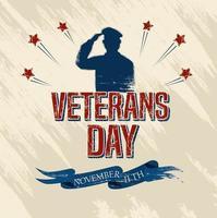 celebración del día de los veteranos con militares y estrellas. vector