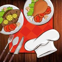 hat chef with delicious food in wooden background vector