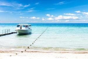 Summer vacation time. speed boat on sandy beach photo