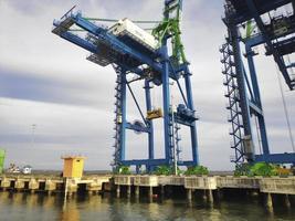 A Giant Quay Crane on port platform photo