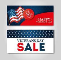 poster of sale veterans day celebration vector