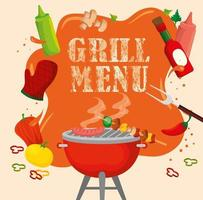 delicious grill menu with oven and food vector