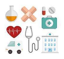 bundle medicine with set icons vector
