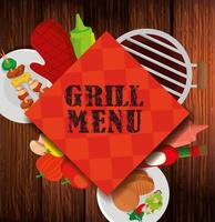 delicious grill menu with icons in background wooden vector