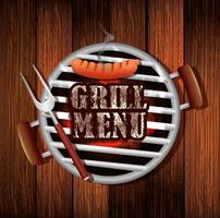 delicious grill menu with oven in wooden background vector