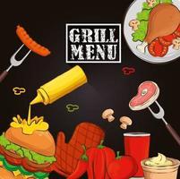 grill menu with hamburger and delicious food vector