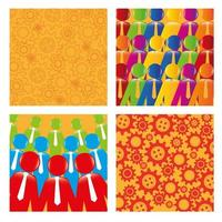 bundle of backgrounds with gears and business people silhouette vector
