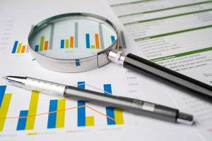 Magnifying glass on charts graphs paper. photo