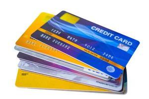 tarjeta de credito sobre fondo blanco foto
