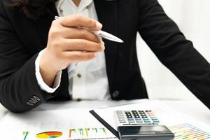 Asian accountant working financial in office photo