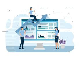 Mini trabajadores de trabajo en equipo con computadora e infografías. vector