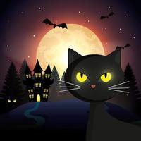 cat with haunted castle in halloween scene vector