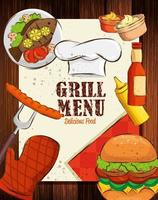 grill menu with hat chef and delicious food in wooden background vector