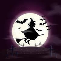 witch flying in broom scene halloween vector